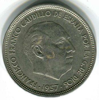 SPAIN 50 PESETAS 1957 (1958) XF