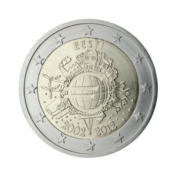 ESTONIA 2 EURO 2012 -10 YEARS OF EURO- ROLL 25 UNC COINS