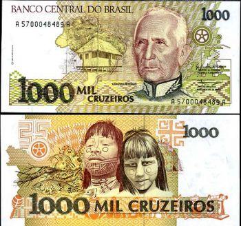 BRAZIL 1000 CRUZEIROS 1990 P 231 UNC