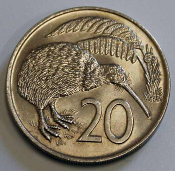 NEW ZEALAND 20 CENTS 1971 KIWI BIRD AUNC