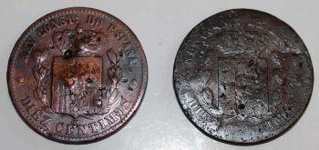SPAIN 2 ΝΟΜΙΣΜΑΤΑ 10 CENTIMOS 1877 και 1878