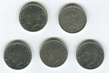 SPAIN 5 νομίσματα των 25 pesetas