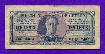 CEYLON 10 CENTS 14 July 1942 No 019082