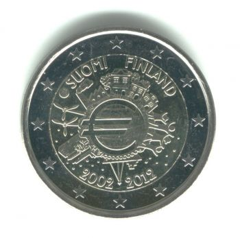FINLAND 2 EURO 2012 -10 YEARS OF EURO- ROLL 25 UNC COINS