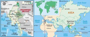 BURMA MYANMAR 5 KYATS 1965 P-53 (staple hole) AUNC