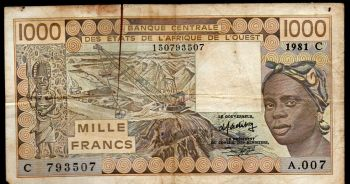 BURKINA FASO (WEST. AFR. STATES) 5000 Francs 1999 P313C, UNC