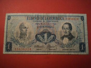 COLOMBIA 2 PESOS ORO 1976-77 UNC