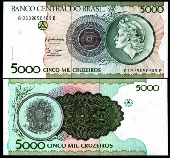 BRAZIL 5000  CRUZEIROS 1990 P 227 UNC