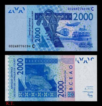 BURKINA FASO (WEST AFRICAN STATES) 2000 FR. 2003 P-316C UNC