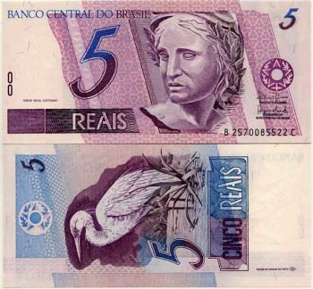 BRAZIL 5 REALS ND (1997-2002) Sign 40 P 245 UNC