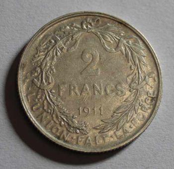 BELGIUM 2 Francs 1911 SILVER (Albert I legende flamande)