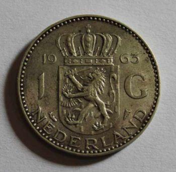 Netherlands 1 SILVER GULDEN 1963