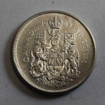 CANADA 50 CENTS SILVER 1964 ΕΞΑΙΡΕΤΙΚΟ