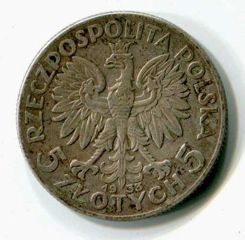 POLAND 5 ZLOTYCH 1933 SILVER