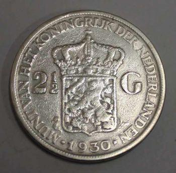 NETHERLANDS 2.50 SILVER GULDEN 1930