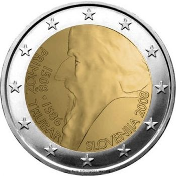Slovenia - 2 Euro, 500th Birthday of Primož Trubar, 2008