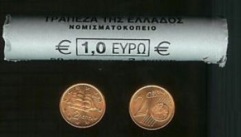 GREECE 2 CENTS 2002 BU  (1 ROLL 50 COINS)