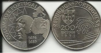 200 ESCUDOS - KM# 658 - COLUMBUS AND PORTUGAL - 1991 - UNC - COPPER-NICKEL