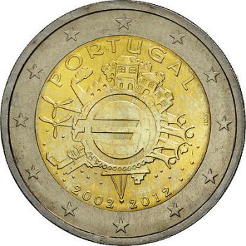 PORTUGAL 2 EURO 2012 -10 YEARS OF EURO- ROLL 25 UNC COINS