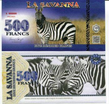 LA SAVANNA 500 FRANCS 2015 SPECIMEN ZEBRA (WILD ANIMAL SERIES) UNC