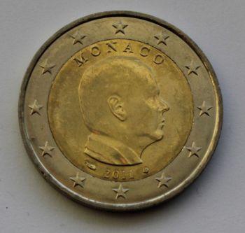 MONACO 2 EURO COMMEMORATIVE 2011 ROLL 25 UNC COINS
