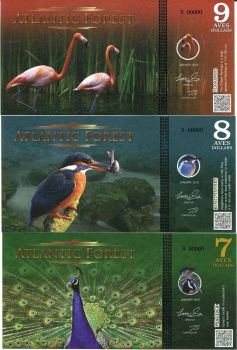 ATLANTIC FOREST SET 3,  7-8-9 AVES DOLLARS SPECIMEN UNC