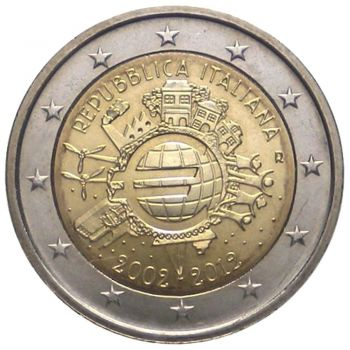 ITALY 2 EURO 2012 -10 YEARS OF EURO- ROLL 25 UNC COINS