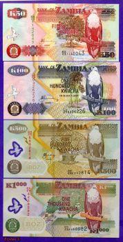 ZAMBIA SET (4) 50-100-500-1000 KWACHA UNC
