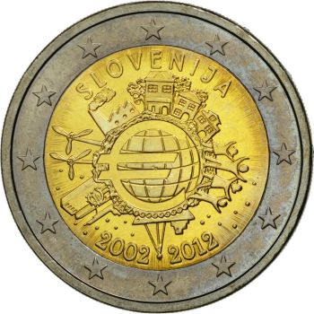 SLOVENIA 2 EURO 2012 -10 YEARS OF EURO- ROLL 25 UNC COINS