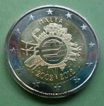 MALTA 2 EURO 2012 -10 YEARS OF EURO- ROLL 25 UNC COINS