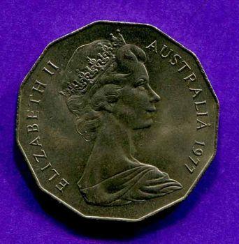AUSTRALIA 50 CENTS 1977 (QUEENS SILVER JUBILEE) AUNC