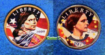 Set 2 έγχρωμα δολάρια USA Anthony & Sacagawea BU
