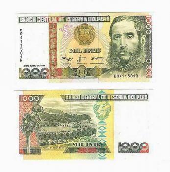 PERU 1000 INTIS 1988 UNC (MARISCAL ANDRES AVELINO)