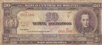 BOLIVIA 10 PESOS 1962 P 154 UNC