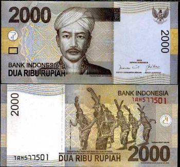INDONESIA 2000 RUPIAH 2009 P NEW UNC