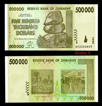 ZIMBABWE 500.000 2008 P-76 UNC