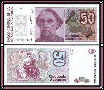 ARGENTINA 50 AUSTRALES 1988-89 UNC P326b