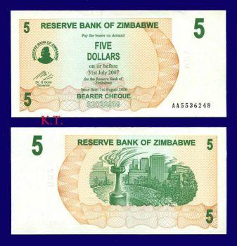 ZIMBABWE 5 DOLLARS 2006 BEARER CHEQUE UNC