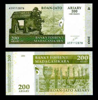 MADAGASCAR 200 ARIARY 2004 P 87 UNC