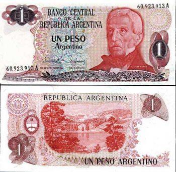 ARGENTINA 1 PESO 1983-84 P 311 UNC
