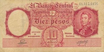 ARGENTINA 10 PESOS ND (1976) P-300 UNC
