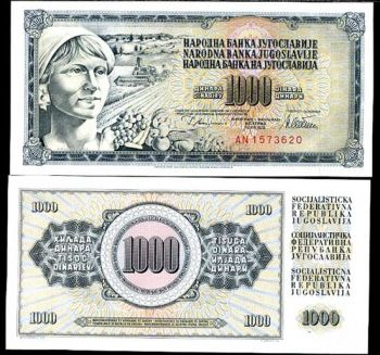 YUGOSLAVIA 1000 DINARA 1978 P 92 c UNC