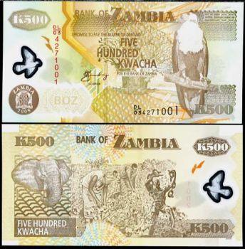 ZAMBIA 500 KWACHA 2008 POLYMER UNC