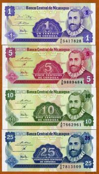 NICARAGUA SET 1-5-10-25 CENTAVOS ND (1991) UNC