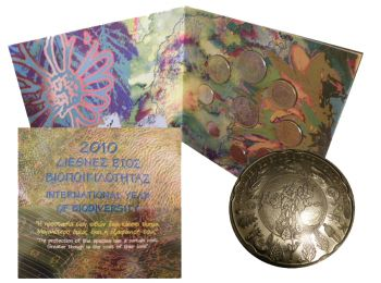 Greece Euro Official Coin Set 2010 10 Euro silver Proof (International year of Biodiversity)