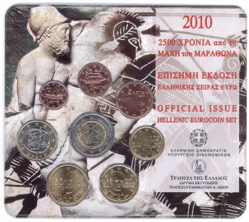 Greece - Euro coins Official BU Set 2010 (with 2 Euro Marathon)
