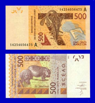 WEST AFRICAN STATES IVORY 500 FRANCS 2012 (2014) UNC