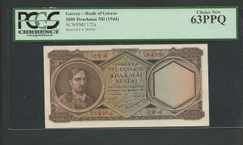 Drachmae 1000/14.11.1947 Choice New PCGS 63PPQ (Perfect Paper Quality).