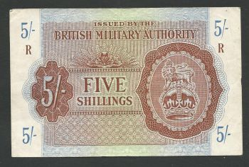 Greece: British Military Authority 5 shillings (Circulated in Greece).
