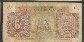 Greece: British Military Authority six (6) pence Very rare!!